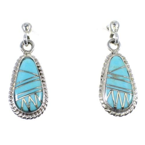 Turquoise Inlay Sterling Silver Earrings RX55374
