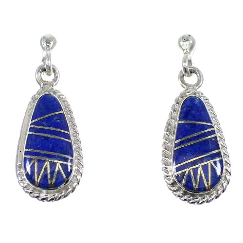 Southwest Sterling Silver Lapis Inlay Earrings RX55375