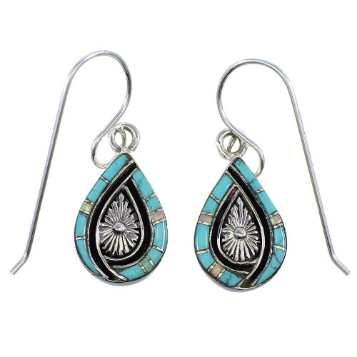Opal And Turquoise Sterling Silver Tear Drop Earrings RX55391