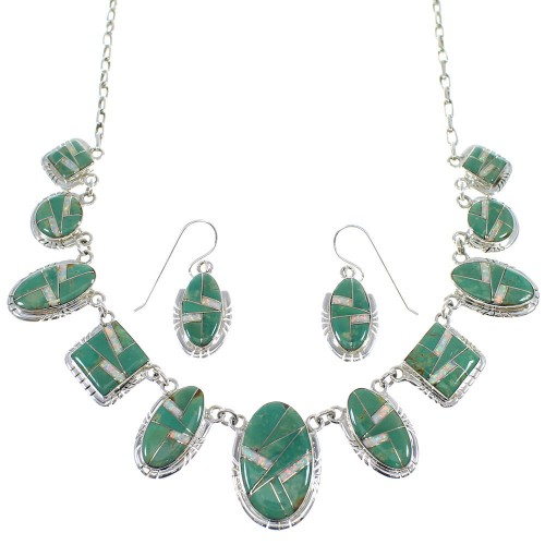Sterling Silver Turquoise And Opal Inlay Southwest  Necklace And Earrings Set CX52710