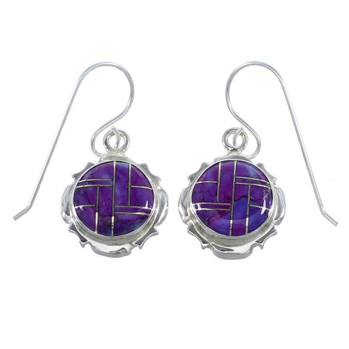 Magenta Turquouise Sterling Silver Hook Earrings YX52701