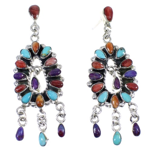 Southwestern Mulitcolor Sterling Silver Post Dangle Earrings YX53309
