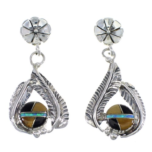 Southwestern Multicolor Sterling Silver Feather Earrings YX53105