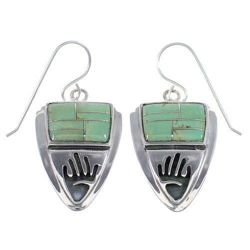 Sterling Silver Turquoise Inlay Hand Hook Earrings YX52768