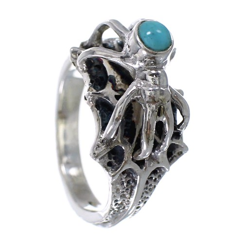 Turquoise Southwest Sterling Silver Spider Ring Size 6 AX52980