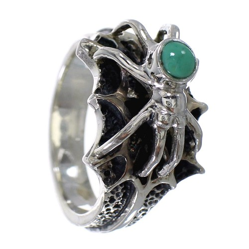 Turquoise Sterling Silver Southwest Spider Ring Size 7-1/2 AX53014