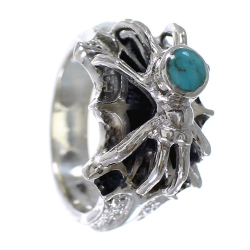 Turquoise Authentic Sterling Silver Southwest Spider Ring Size 7-1/2 AX53055