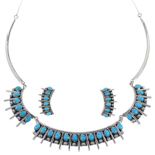 Turquoise Genuine Sterling Silver Southwestern Jewelry Set CX52772