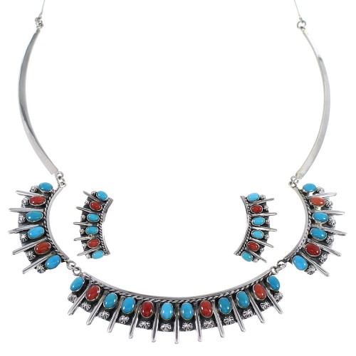 Turquoise And Coral Sterling Silver Southwestern Jewelry Set CX52780