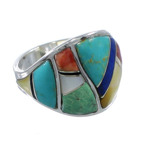 Southwestern Multicolor Silver Ring Size 6-1/2 AX53145