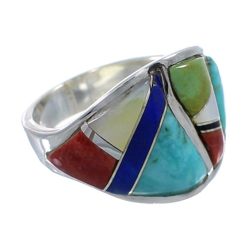 Southwest Sterling Silver Multicolor Inlay Ring Size 8 AX53148