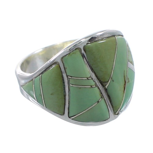 Turquoise Southwestern Silver Ring Size 5-1/2 AX53200