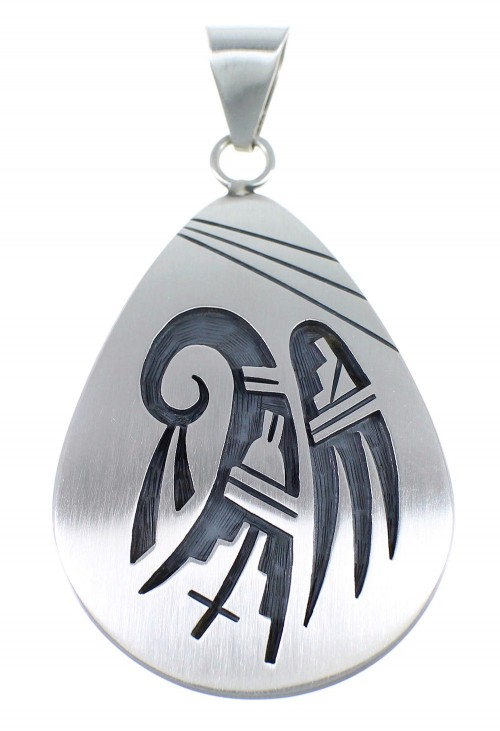 Hopi George Phillips Prayer Bear Paw Water Wave Silver Pendant EX53858