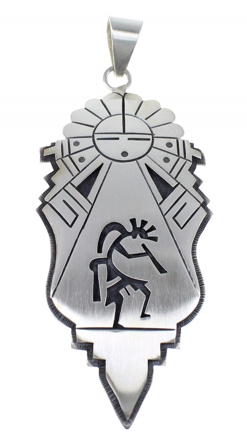 George Phillips American Indian Sun Kokopelli Sterling Silver Pendant EX53914