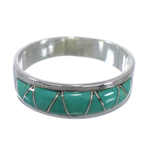Southwest Silver Turquoise Inlay Ring Size 7-3/4 AX53419