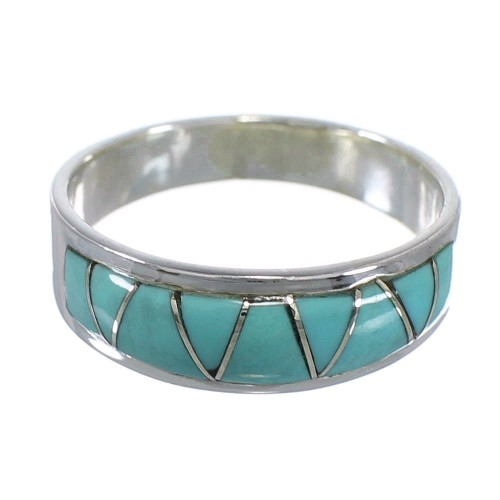 Sterling Silver Turquoise Inlay Southwestern Ring Size 4-1/2 AX81730