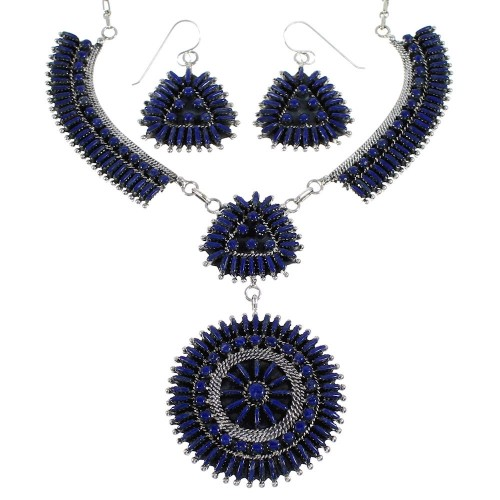 Needlepoint Lapis Southwest Sterling Silver Jewelry Set CX53712