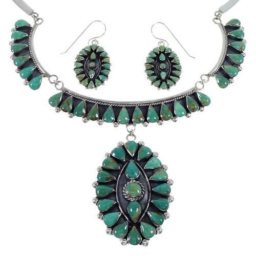 Turquoise Sterling Silver Southwestern Link Necklace Set CX53308