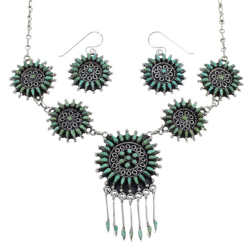 Southwest Sterling Silver Turquoise Needlepoint Necklace And Earring Set EX54062