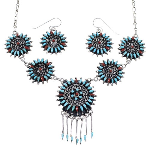 Southwest Turquoise And Coral Needlepoint Silver Necklace And Earring Set EX54066