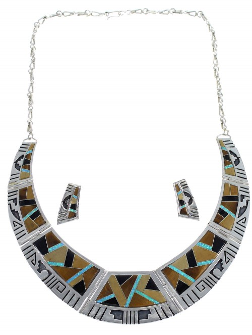 Southwest Water Wave Multicolor Sterling Silver Necklace And Earrings Set CX53613