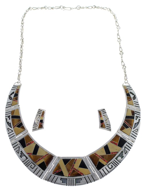 Southwest Water Wave Silver Multicolor Necklace And Earrings Set CX53617