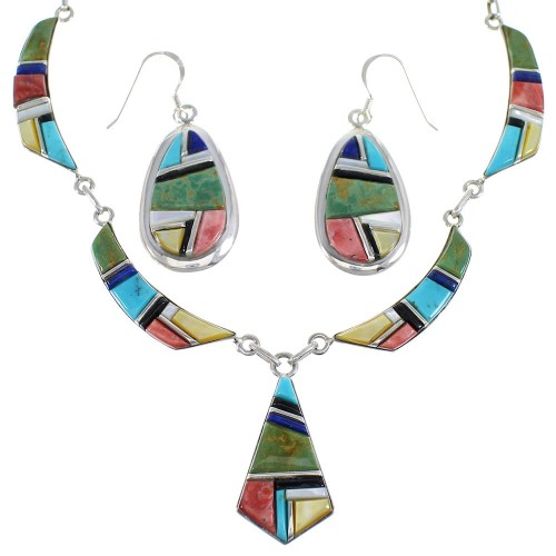 Multicolor Inlay Sterling Silver Southwestern Necklace And Earrings Set EX54157