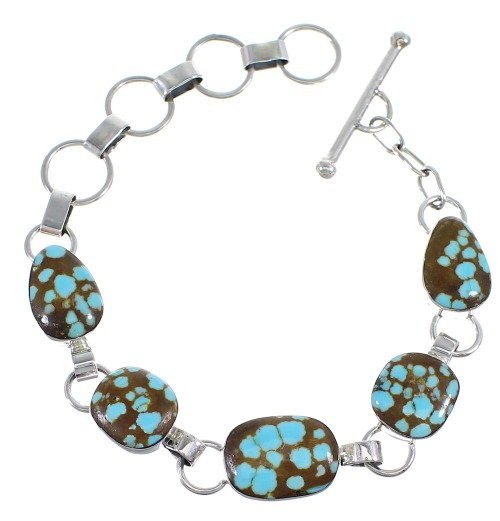 Turquoise And Silver Southwest Jewelry Link Bracelet AX54032