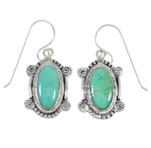 Turquoise And Silver Hook Dangle Earrings RX54676