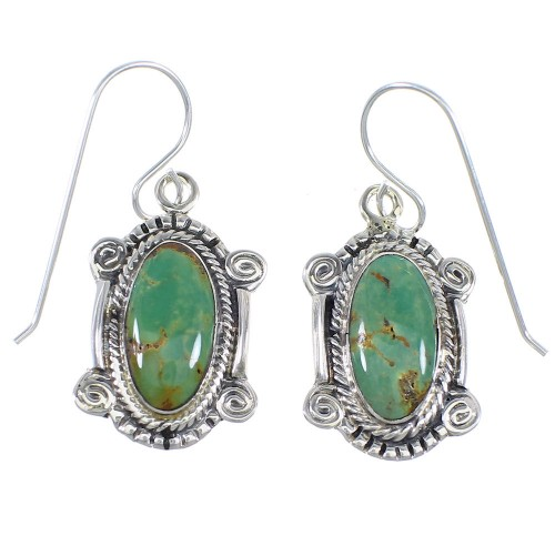 Southwest Turquoise And Silver Hook Dangle Earrings RX54678