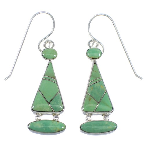 Sterling Silver Southwestern Turquoise Inlay Earrings RX55589