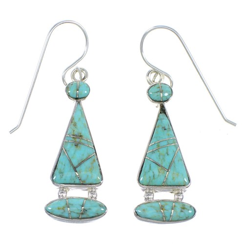 Authentic Sterling Silver And Turquoise Inlay Earrings RX55608