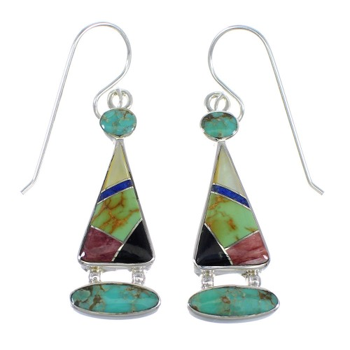 Multicolor Inlay Sterling Silver Hook Earrings RX55639