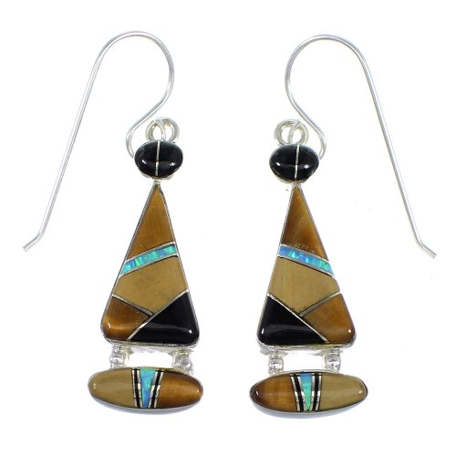 Southwest Sterling Silver Multicolor Inlay Hook Earrings RX55654