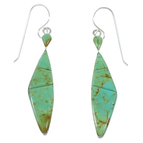 Southwest Turquoise Authentic Sterling Silver Hook Earrings RX55739
