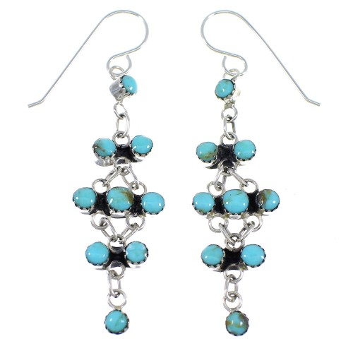 Southwest Silver Turquoise Hook Dangle Earrings RX54779