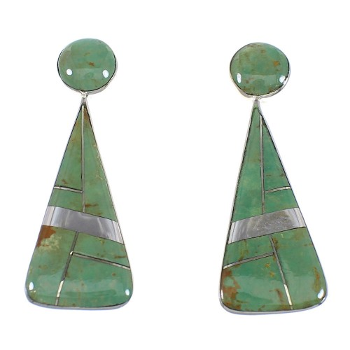 Southwest Turquoise And Sterling Silver Post Earrings RX54827