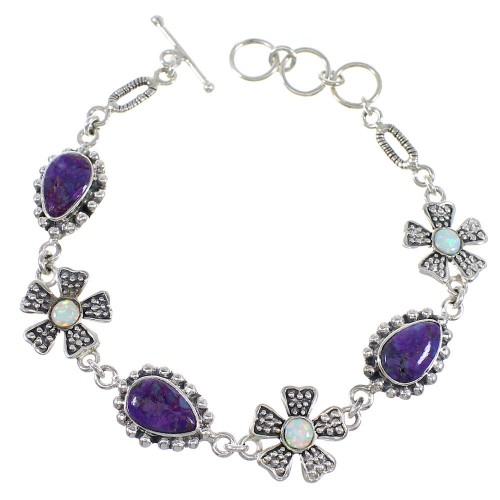 Magenta Turquoise And Opal Silver Flower Link Bracelet AX54443