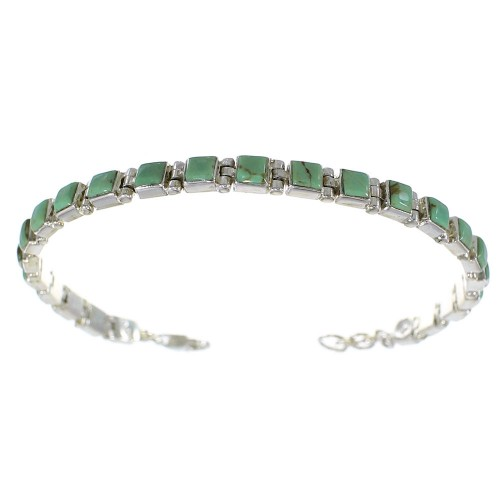 Silver Turquoise Southwestern Jewelry Link Bracelet AX54381