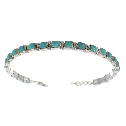 Authentic Sterling Silver Turquoise Link Bracelet AX54387