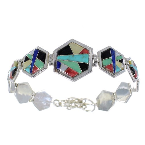 Multicolor Inlay Genuine Sterling Silver Link Bracelet AX54130