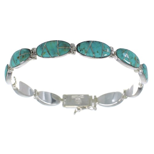 Authenitc Sterling Silver Turquoise Inlay Link Bracelet AX54542