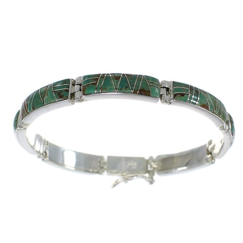 Southwestern Turquoise Genuine Sterling Silver Link Bracelet AX55244