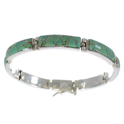 Southwestern Turquoise Authentic Sterling Silver Link Bracelet AX55248