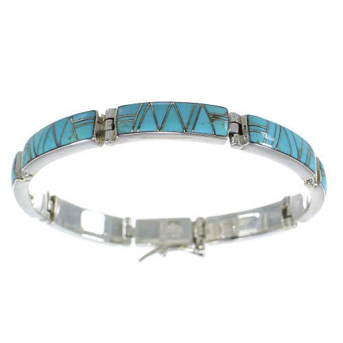 Turquoise Inlay Southwestern Silver Link Bracelet AX55278