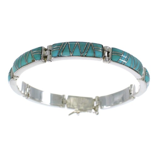 Southwest Turquoise Jewelry Sterling Silver Link Bracelet AX55283
