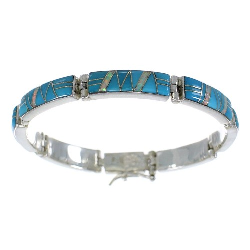 Genuine Sterling Silver Turquoise And Opal Link Bracelet AX55297
