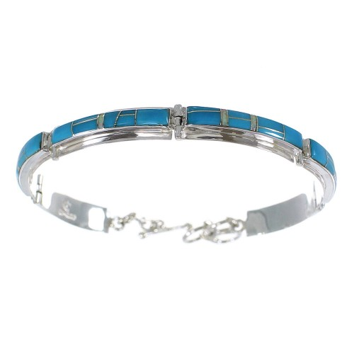 Silver Southwestern Turquoise And Opal Link Bracelet AX54731