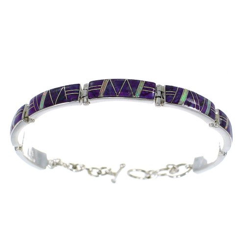 Silver Opal And Magenta Turquoise Inlay Link Bracelet AX54927