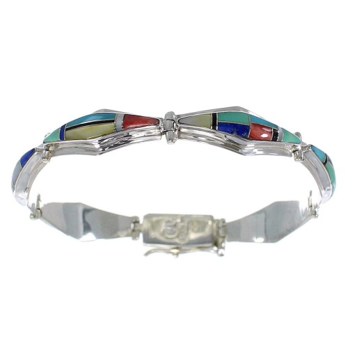 Multicolor Inlay Genuine Sterling Silver Link Bracelet AX54659